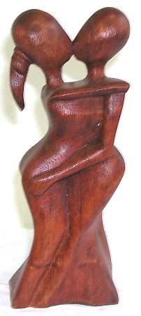 Valentines gift sculpture, Bali home decoration, unique wooden figures, contemporary crafts, wood collectible, handcrafted handicraft