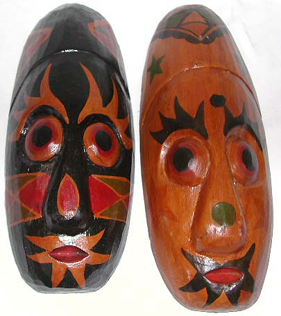 Glossy paint decor, Illustrated masks, wall accessory, bali novelties, wood carvings, tribal art, handicrafts
