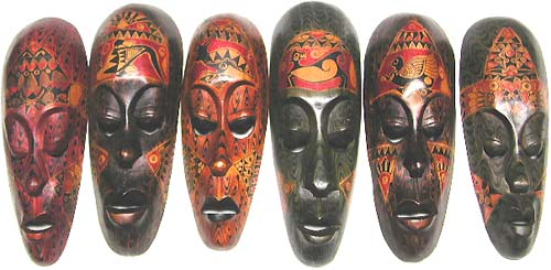Artisan mask designs, interior decor, wooden art, carved sculptures, aboriginal gift, indonesian illustrations