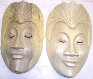 Handmade crafts, white wood decor, wooden mask, bali art, indonesian culture images, wall accessory