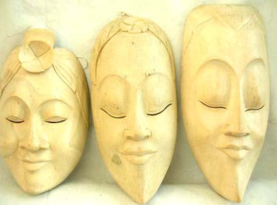 Crafted carvings, carved white wood, artisan masks, tribal art, aboriginal products, indonesian ornaments