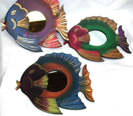 Ocean life decor, decorative mirror, artist designed carvings, wall accessories, balinese wood art, painted furnishing