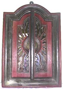 Wooden cabinet, batik mirror decor, carved art product, indonesian interior design, painted furnishing