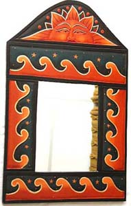 Beach theme decor, carved wave design, indonesian mirrors, bali wall art, crafted vanity frames, artisan handicraft