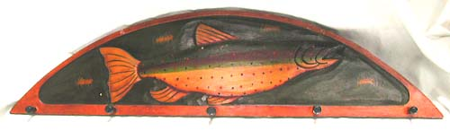 Indonesian garment hooks, fish lovers wall decor, interior designs, clothing fixtures, exotic carvings, hand painted coat hanger