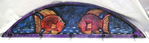 Tropical fish decor, clothing hooks, wooden wall ornaments, bali apparel hangers, painted carvings, exotic crafts