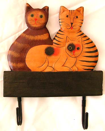 Crafted cat designs, balinese wall decor, coat hanger, carved wood craft, clothing hook, animal designed handicraft