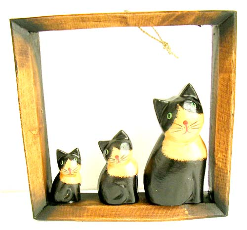 Cat decorations, batik artisan craft, wall decor, exotic painted carvings, interior decoration, unique products