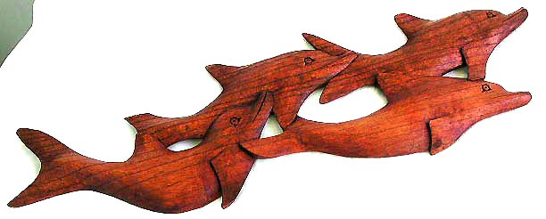 Balinese interior decor, wall plaques, dolphin lovers art, wooden carvings, primitive collectibles