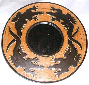 Gecko designed ornament, home furnishing, balinese wood carving, handcrafted mirror, interior accessory