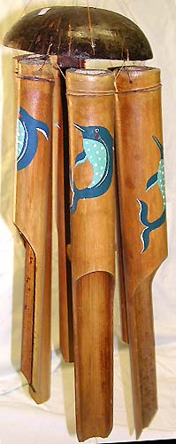 Dolphin painted crafts, balinese wind chime, artisan windchimes, decorative ornaments, aboriginal decor