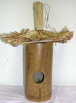 outdoor crafted designs, home and garden art, bamboo carvings, handmade bird house, exotic handicrafts