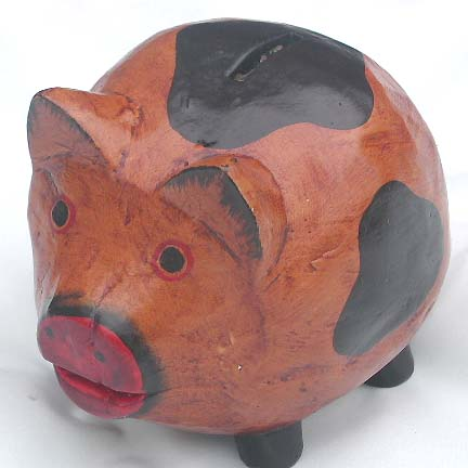 Wooden piggy bank, money holder, coin box, handicrafts, indonesian wood carvings, home decor