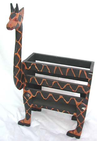 Magazine rack, african designed furnishings, trendy safari office supplies, wooden book holder, bali carved gift