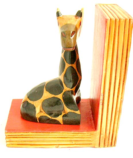 Reading accessory, book ends, wooden animal sculptures, carved giraffe decor, crafted wood wild animals, home furnishing