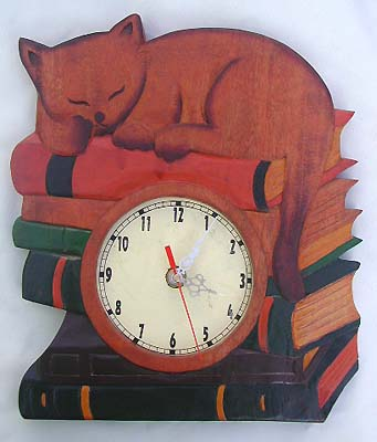 Bali crafted wooden clock, carved time piece, home furnishings, unique handmade clocks, painted crafts, kids time pieces