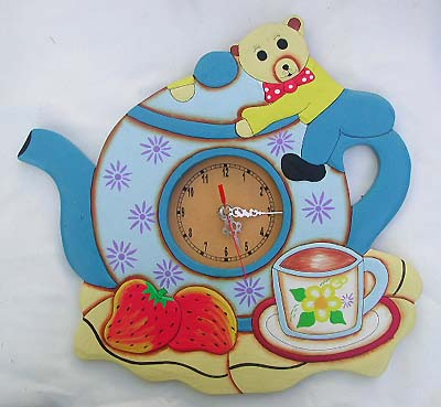 Childrens painted clocks, artisan designed time pieces, home decor, unique carved decorations, garden figures