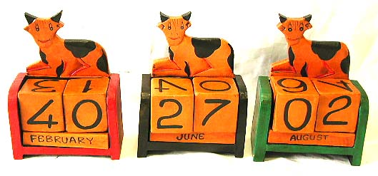 Animal lovers gifts, indonesian handicrafts, artisan novelties, kids wooden block calendar, month and day timer