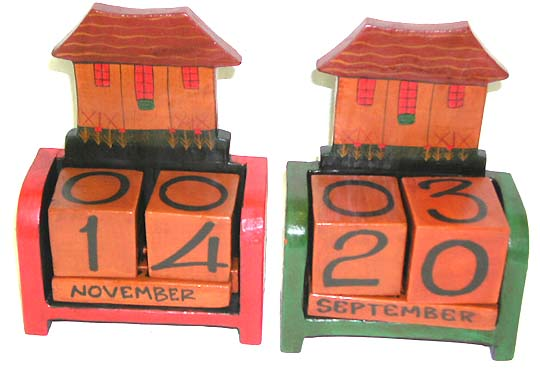 Kitchen crafts, wooden block calendar, environmentally friendly  calendars, home decorations, day planning, indonesian collectible
