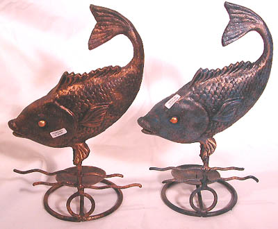 Tropical fish decor, home and garden designs, metal candle holder, balinese novelty, contemporary crafts
