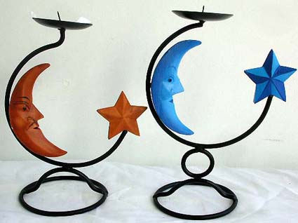 Celestial wrought iron decor, artist inspired crafts, home art, interior designs, batik candle holder, taper stand