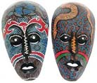 Wooden carvings, home decoration , bali art, tribal mask, aboriginal gifts, wall decor