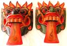 Indonesian masks, wood illustration, folk art decor, home furnishing, carved mask, painted handicraft, handmade wall accessories