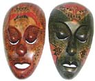 Painted carvings, indonesian artisan gifts, tribal masks, native folk art, new age home furnishings