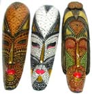 Tribal designed masks, wooden art, ethnic decor, painted wall acccessory, aboriginal crafts
