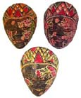 Batik style masks, handmade tribal art, aboriginal illustrations, wooden carving, artisan mask, bali handicrafts